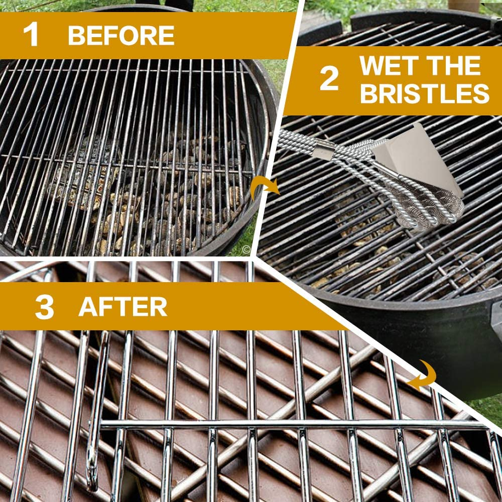 JaJas Grill Brush Bristle Free Safe BBQ Cleaning Grill Brush and Scraper