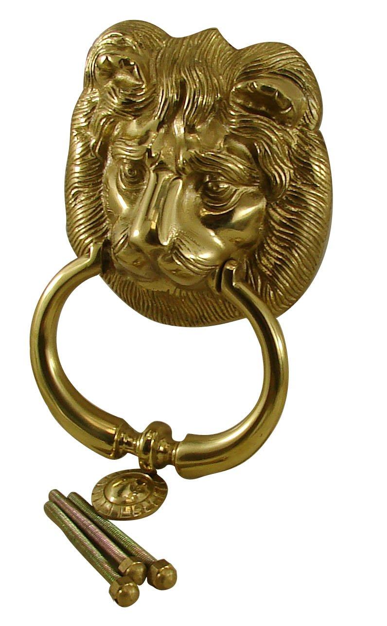 Heurtoir Marteau de porte LION laiton massif poli verni