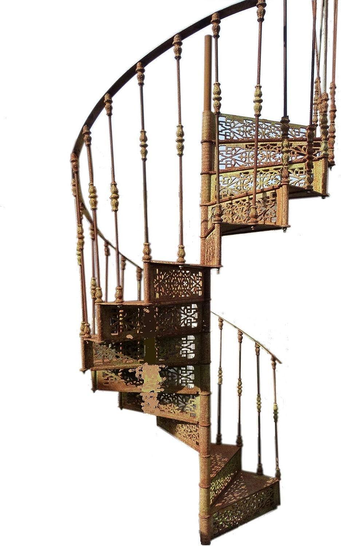 Escalera de caracol de hierro, totalmente desmontable, para exterior o interior. Diámetro 155 cm