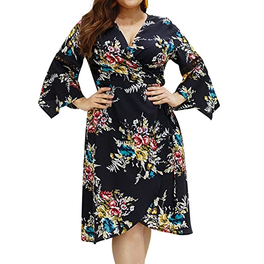 de925feda41 Women Plus Size Cross Overlap Summer Skirt,V-Neck Flare Sleeve Floral Print  Open