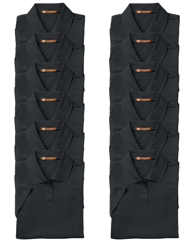 Harriton Women's Breathable Upf 50 Polo Shirt, Black, Small. ( Pack12 ) by Harriton