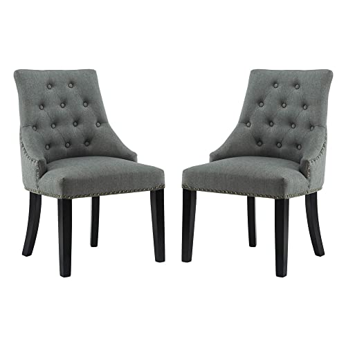 DAGONHIL Fabric Dining Accent Chairs Set of 2 with Black Solid Wooden Legs,Nailed Trim Gray