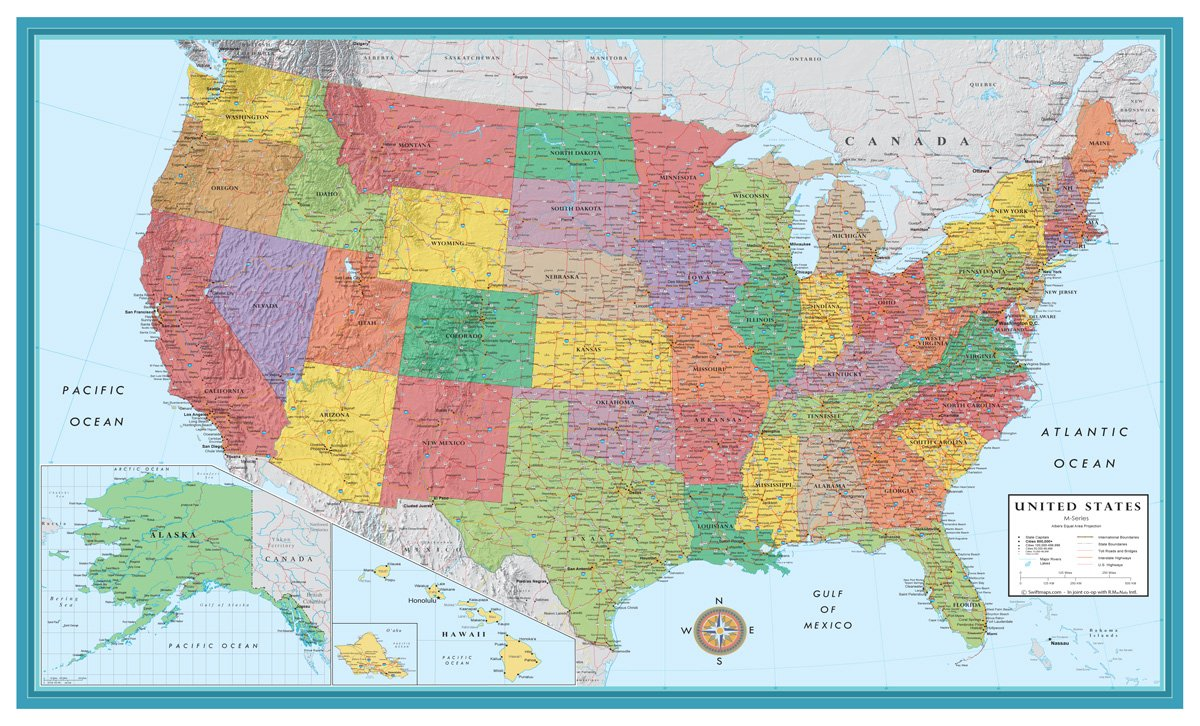 48x78 Huge United States, USA Classic Elite Wall Map Laminated Swiftmaps SM USA EL LG LAM