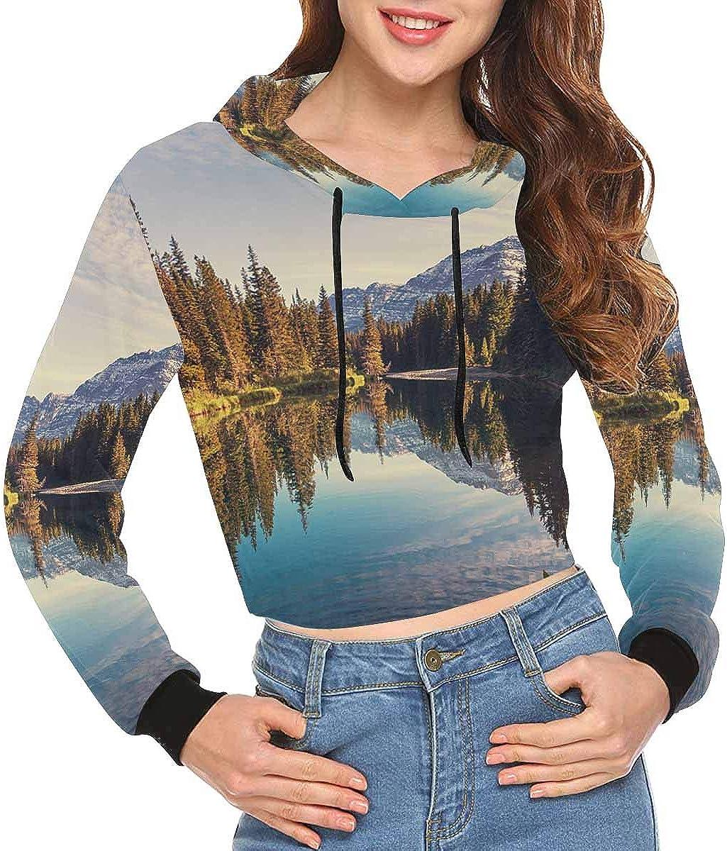 INTERESTPRINT Cropped Hoodie Women Fashion Long Sleeve Hooded Crop Tops Sweatshirt XS-2XL