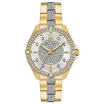 0a317ced7 Amazon.com: Bulova Women's 98L228 Swarovski Crystal Gold Tone ...