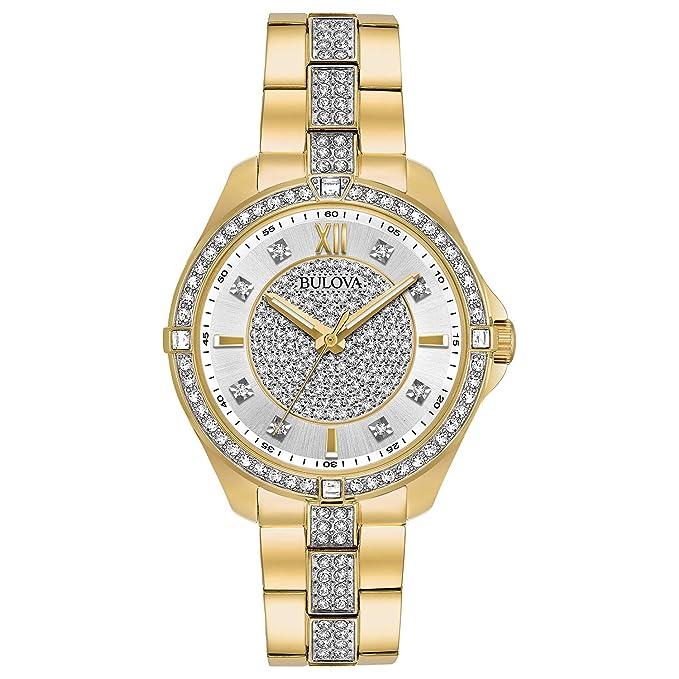 f5b938622 Bulova Women's 98L228 Swarovski Crystal Gold Tone Bracelet Watch:  Amazon.ca: Watches
