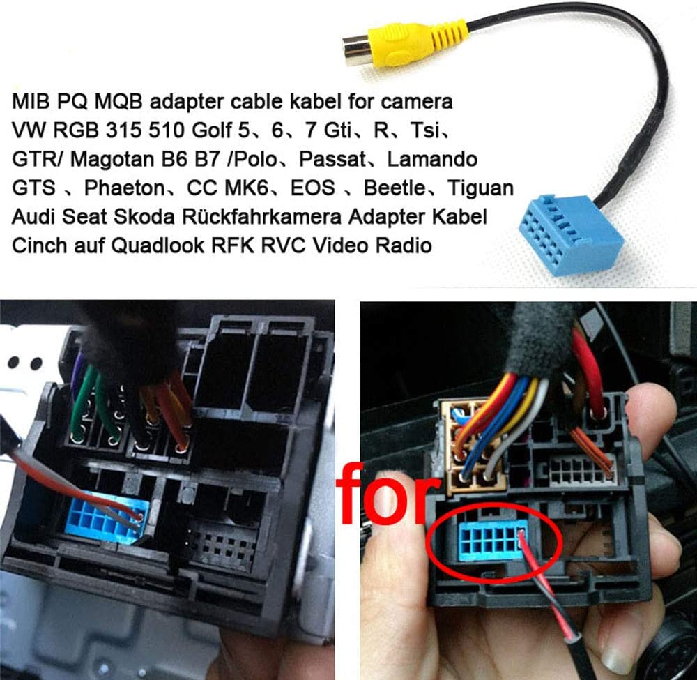 VW Eos RFK Rückfahrkamera für Low Kamera Kabelbaum Adapterkabel