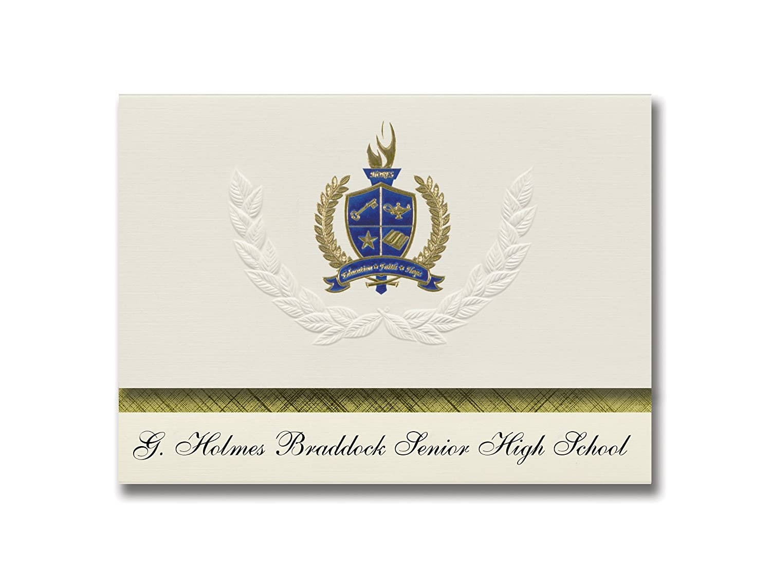 Signature Announcements G. Holmes Braddock Senior High School (Miami, FL) Graduation Announcements, Presidential Basic Pack 25 with Gold & Blue Metallic Foil seal