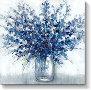Abstract Flowers Picture Wall Art: Blue Bouquet in Vase Artwork Print Painting on Canvas for Bedroom Office ( 28'' x 28'' x 1 Panel )