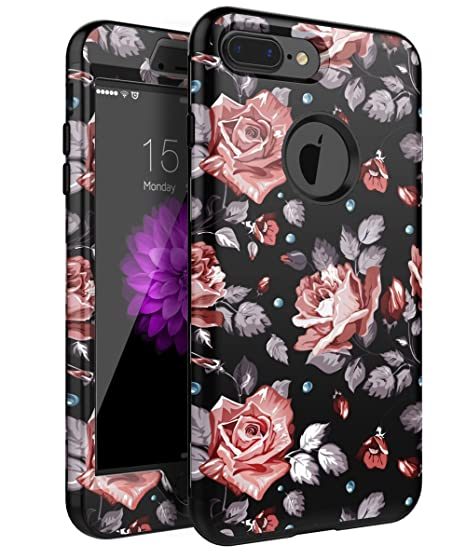 official photos a0c51 7e563 XIQI iPhone 7 Plus Case, iPhone 8 Plus Case Flower Three Layer Heavy Duty  Shockproof Cute Girls Woman Anti-Scratch Protective Case Cover for iPhone 7  ...