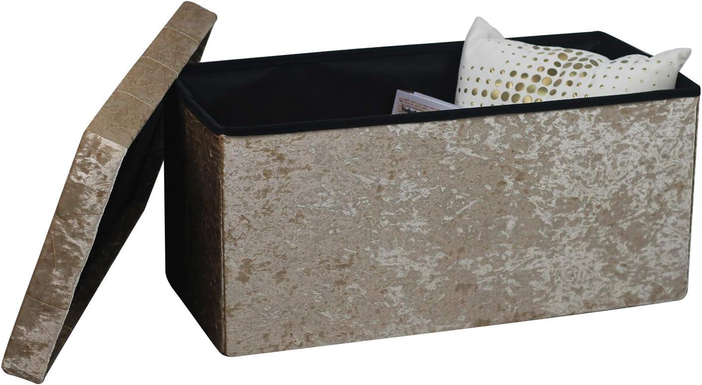 Top Folding Storage Ottoman Seat Toy Storage Box Folding Seat Crushed Velvet