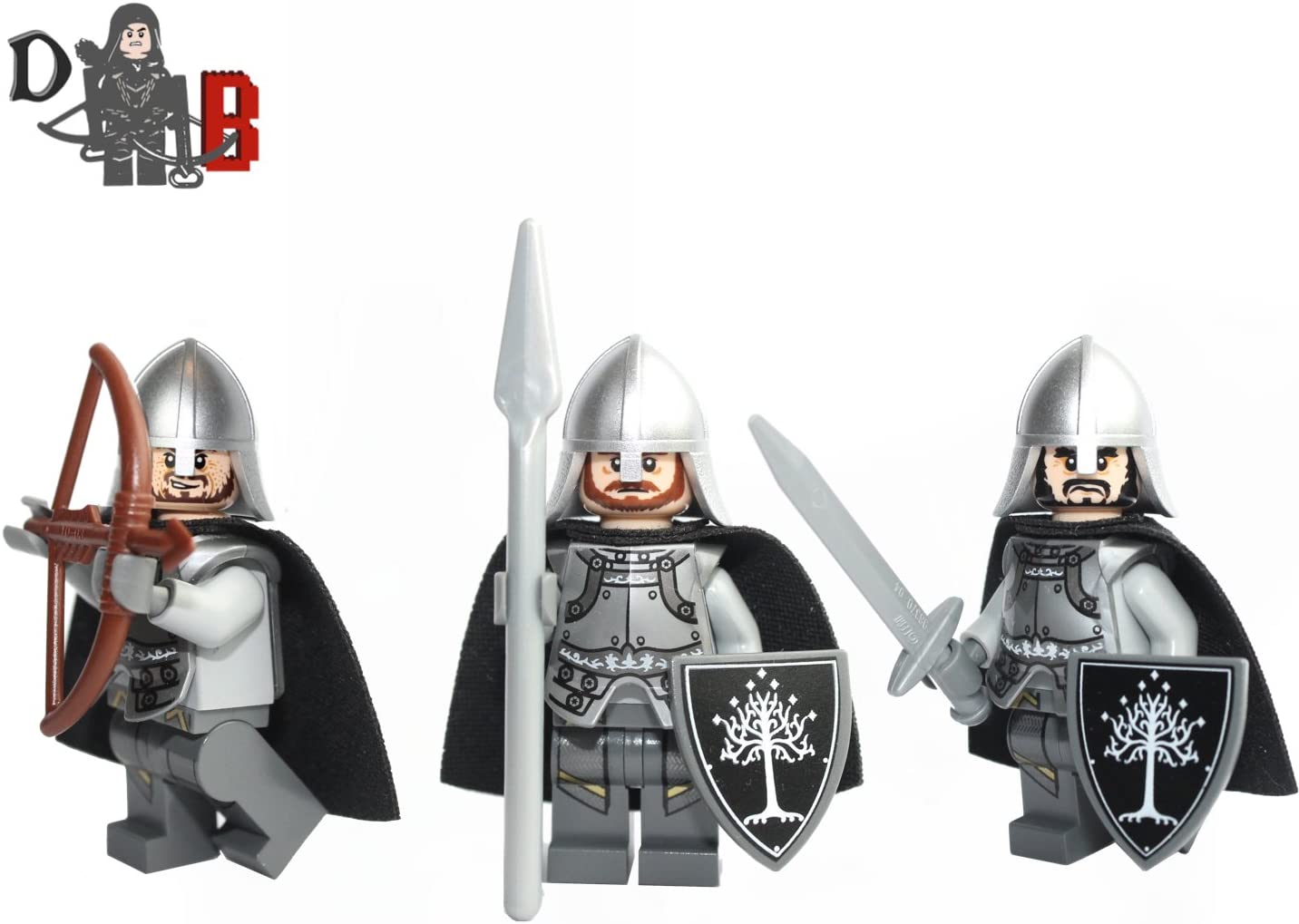 Made using LEGO parts. Lord of the rings Gondor Soldiers 3 Minifigures