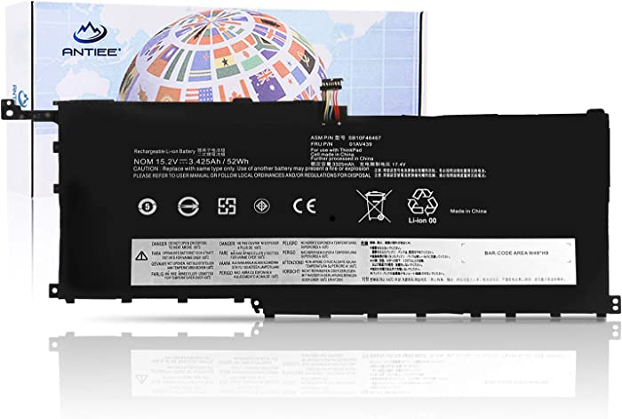 ANTIEE 00HW028 00HW029 01AV439 Laptop Battery for Lenovo Thinkpad X1 Carbon 4th Gen(2016) and 6th Gen(2018), Thinkpad X1 yoga Series 01AV409 01AV438 SB10K97566 SB10F46466 SB10F46467 15.2V 52Wh 3425mAh