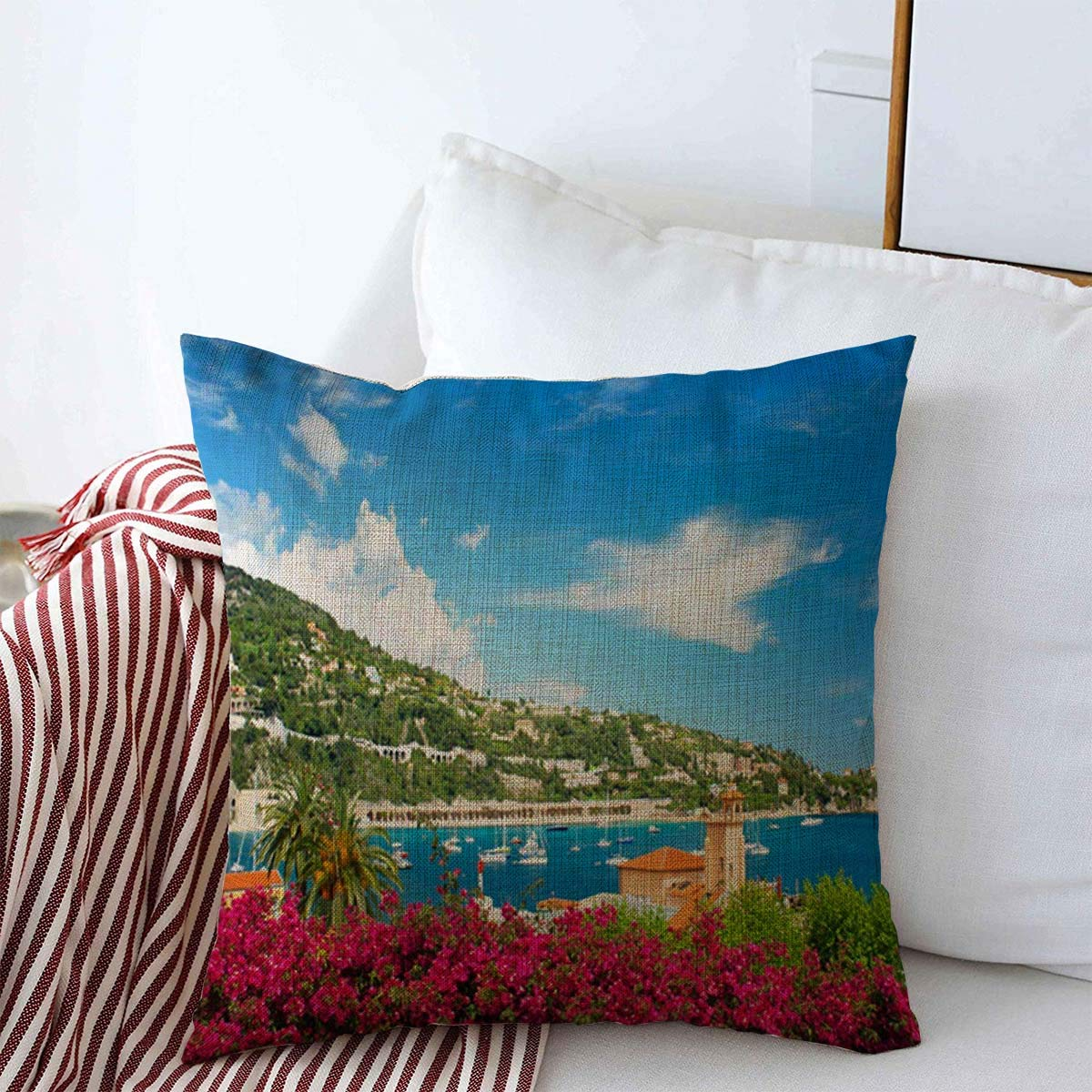 """Throw Pillow Covers Seascape Blue Nice Mediterranean French Riviera Sightseeing Near France Parks Monaco Exotic Provence Cushion Square Pillowcase Linen for Winter Home Decor 16"""" x 16"""""""