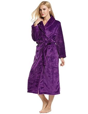 Ekouaer Damen Flanel Anzug Nachtwäsche Lang Schlafanzug für Herbst Winter