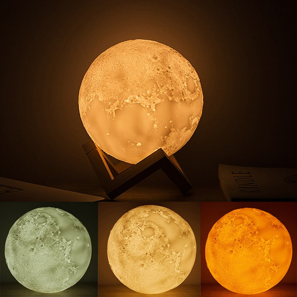BWORPPY Moon Lamp, 3D LED Moon Ball Lamp Touch Control Dimmable USB Charging Night Light Home, Bedroom, Desk Decoration 15cm15cm-With Wooden Stand (15CM) by BWORPPY
