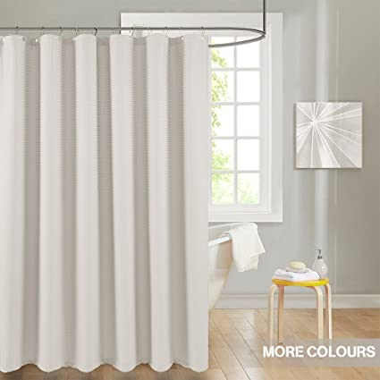 7eba0433841 Lazzzy 72 quot  Oyster Shower Curtains Beige Shower Curtain Metal Grommets  Top for Bathroom Waterproof Waffle