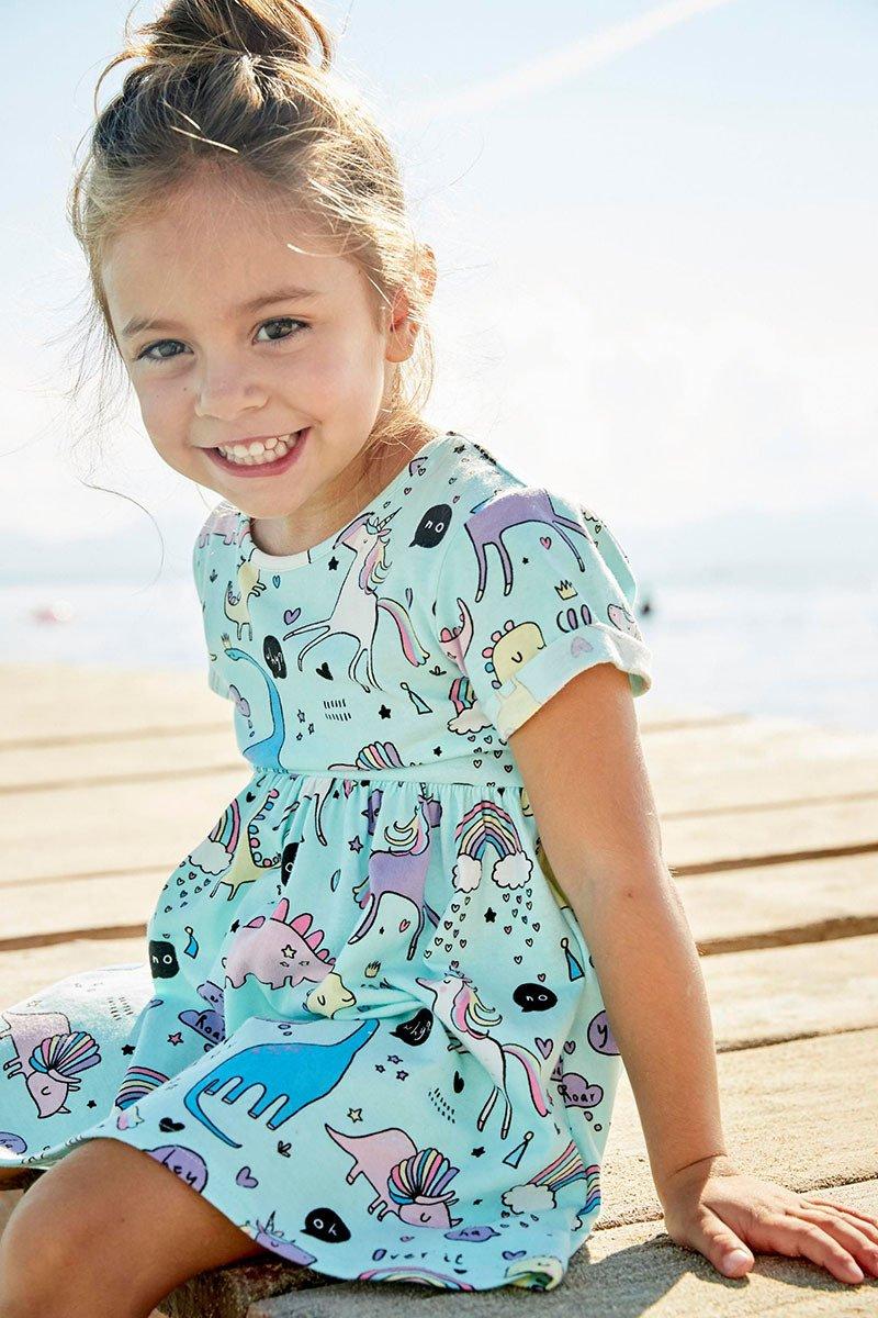 JiaYiYi Girls Dinosaur Casual Dresses Cotton Summer Short Sleeve Skirt Dress for Kids Size 2T-7T (7, Blue) by JiaYiYi (Image #2)