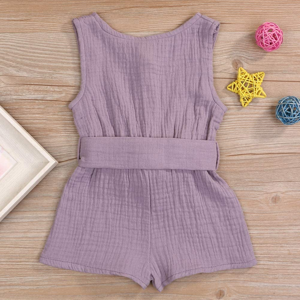 YOUNGER STAR Toddler Baby Girls Bowknot Belt Romper Bodysuit Ruffled Sleeveless Jumpsuit