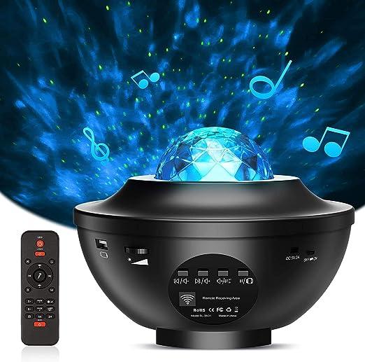 Proyector de Luz Estelar, LED Cambiar Color Reproductor de Música con Bluetooth, Lámpara Luces Nocturnas de Nebulosa Giratorio con Control Remoto, Proyector Estrellas para Cumpleaños y Fiesta: Amazon.es: Iluminación