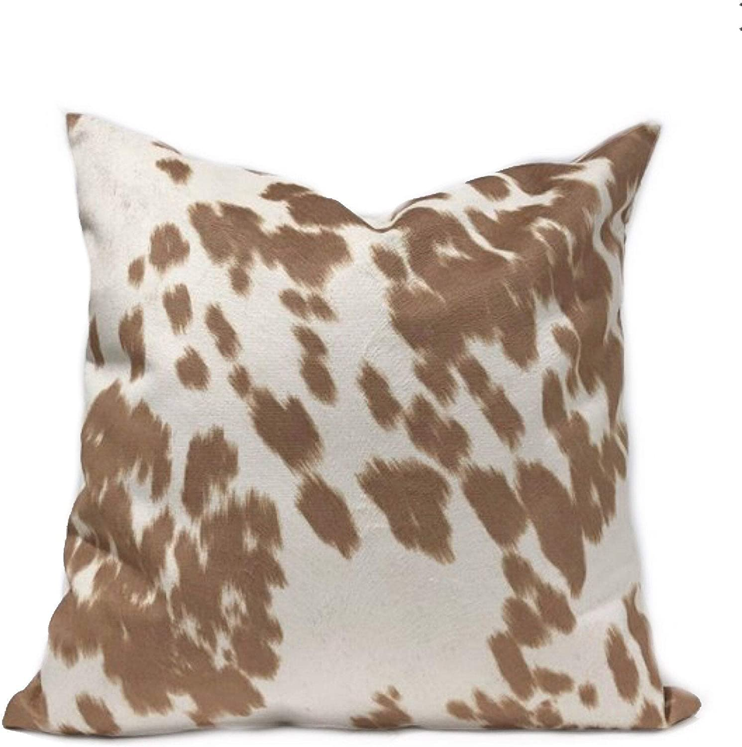 Amazon Com Flowershave357 Faux Cowhide Light Brown Pillow Cover Udder Madness Cow Upholstery Palomino Euro Sham Kidney Lumbar Pillow Case Home Kitchen