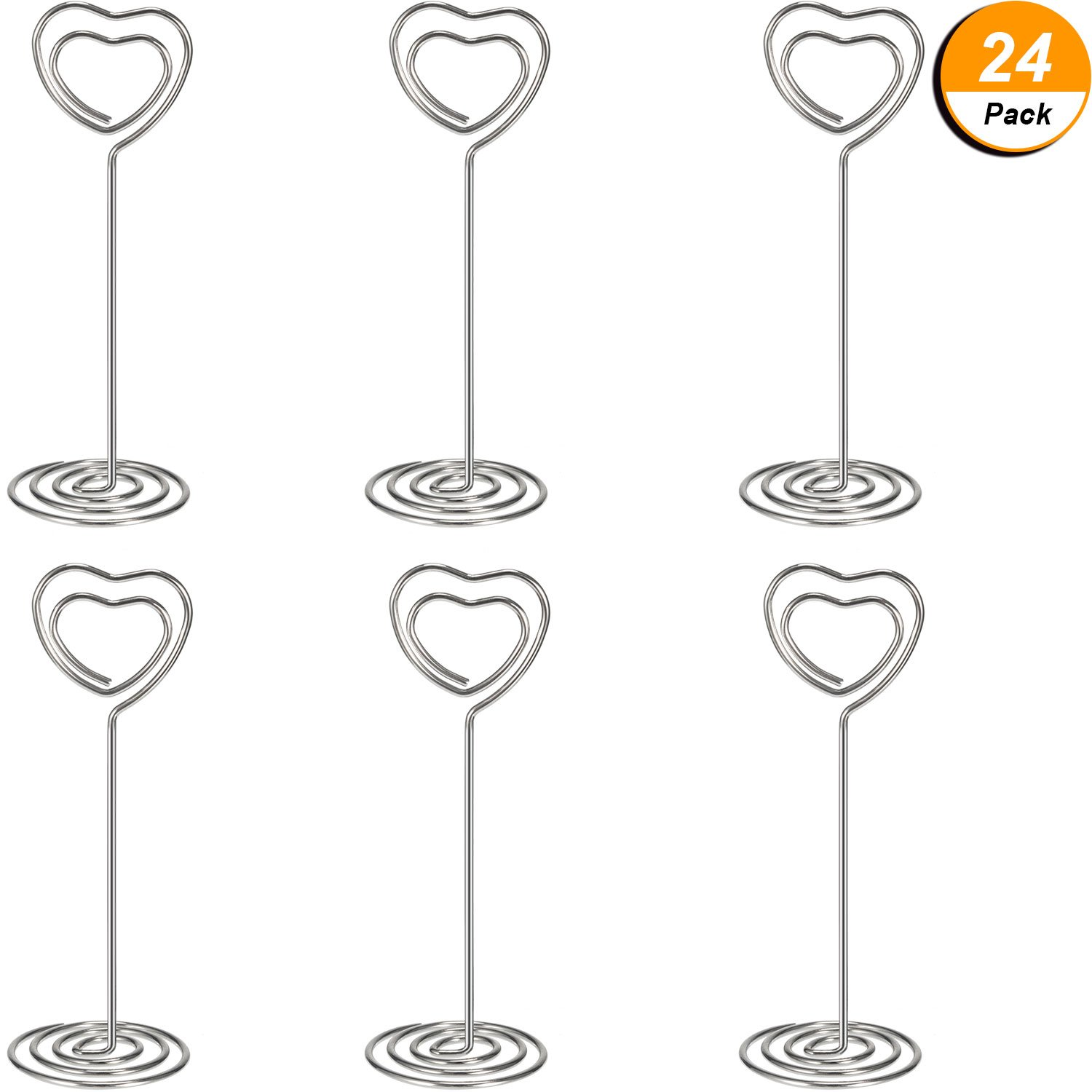 Shappy 24 Pack of Table Number Card Holders Photo Holder Stand Place Card Paper Menu Clips Holders, Heart Shape (Silver)