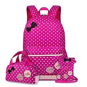 Vbiger 3 in 1 School Bag Waterproof Nylon Shoulder Daypack Polka Dot Bookbags Backpacks Cell Phone Messenger Bags Pencil Case (Rosy)