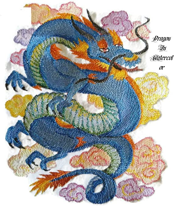 Blue Dragon Embroidered Applique Iron On Sew On Patch
