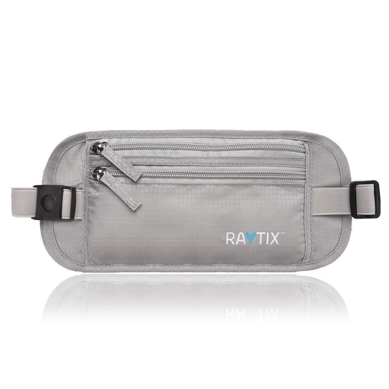 Raytix Travel Money Belt With RFID Transmissions -Secure, Hidden Travel Wallet (Gray) by Raytix