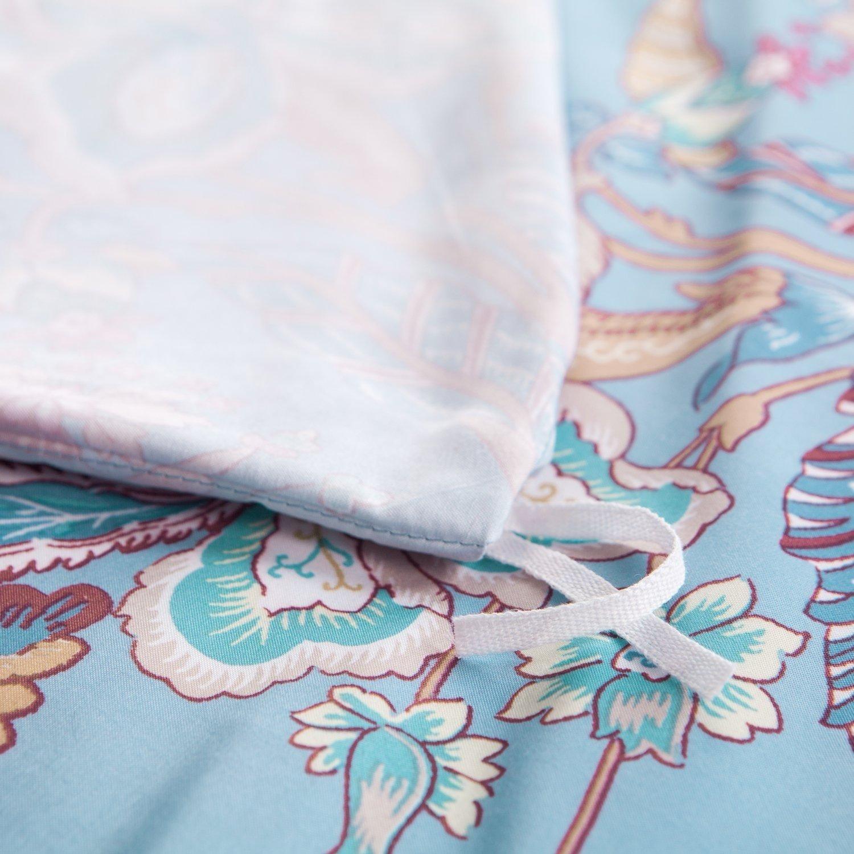 3 Piece Duvet Cover Set with Zipper Closure-Printed Blue Floral Reversible Design,Full/Queen (90\