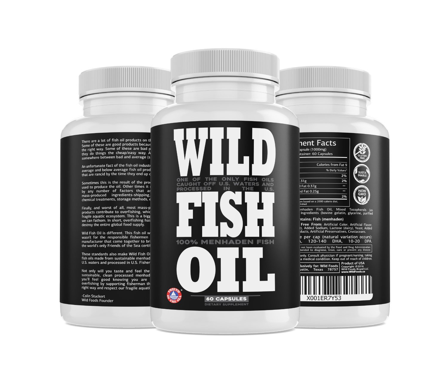 Wild Fish Oil, U.S. Caught Omega-3 DPA, DHA & EPA - 60 Burpless Gel caps, Non-GMO, Sustainable Certified, Tested for Purity (60 Capsules) by Wild Foods