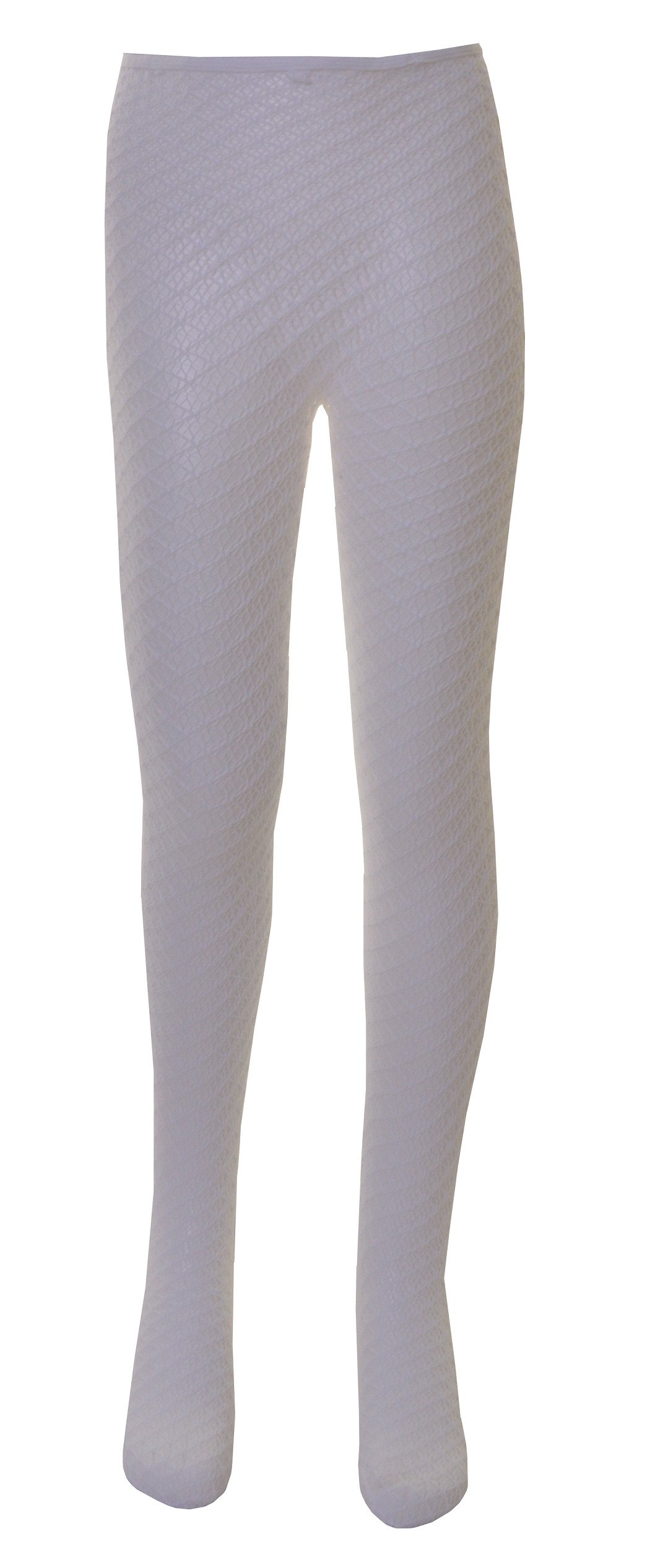 1 Pair of Girls Diamond Polymide Lace Tights Age 11 to 13 White