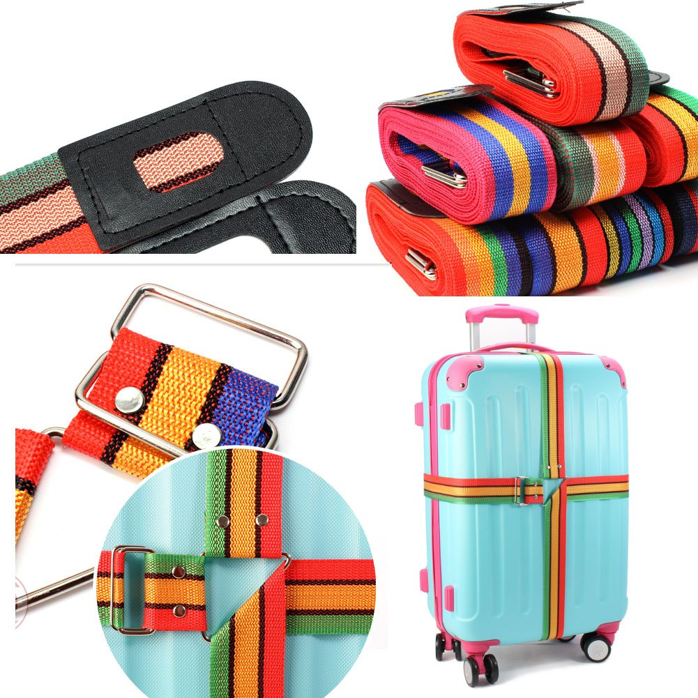 Deluxe Heavy Duty Cross Luggage Strap For Suitcase 2Pcs