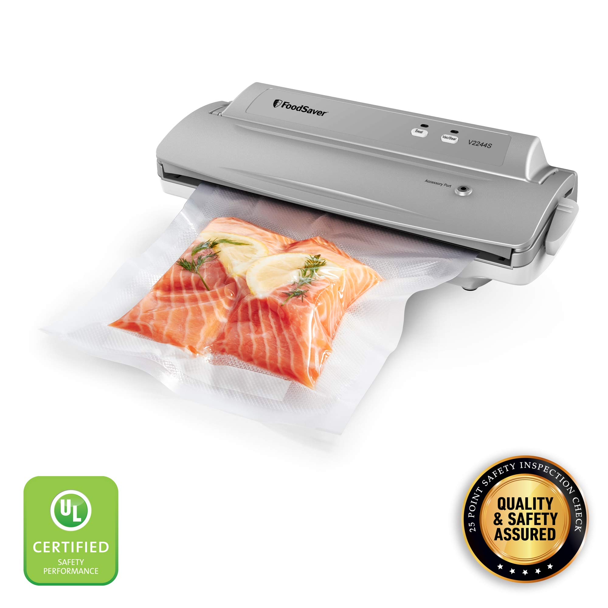 FoodSaver v2244 Machine for Food Preservation with Bags and Rolls Starter Kit | #1 Vacuum Sealer System | Compact & Easy Clean | UL Safety Certified | Silver,