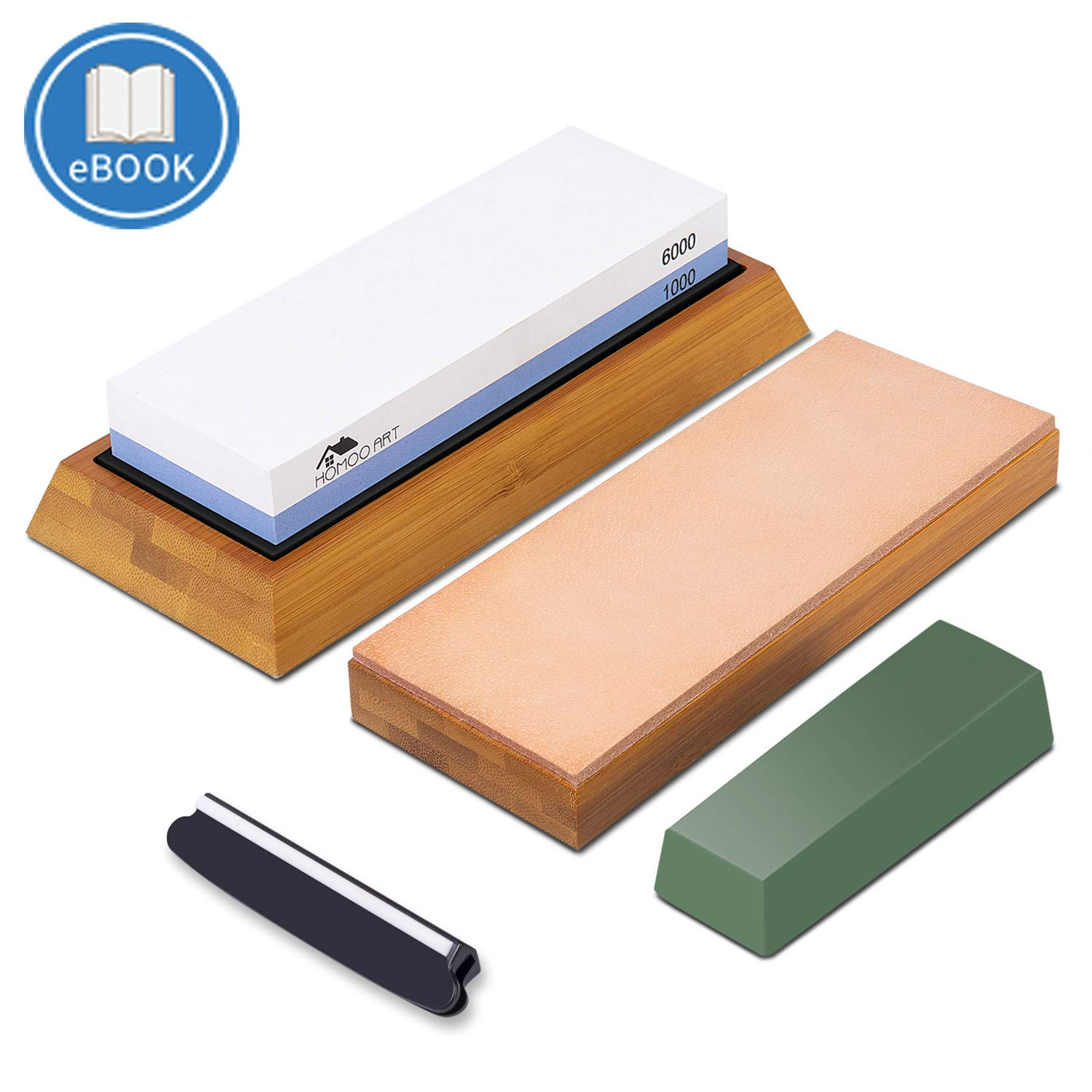 Premium Whetstone Knife Sharpening Stone and Leather Honing Strop Set :#1000/6000 Grit Water Stone/Wet Stone, Angle Guide | Knife Stropping Block with Polishing Compound, Bamboo Base -with eBook