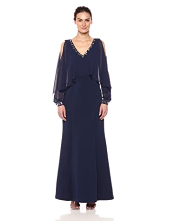 d4d5828b5c1 S.L. Fashions Women s Cape Beaded V-Neck and Cuffs Cold Shoulder Long Gown