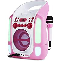 auna Kara Illumina • Equipo de Karaoke • Reproductor de CD y MP3 • Puerto USB • Entrada AUX • Salida de Video RCA • 2 x micrófonos 6,3 mm • Iluminación LED • Regulador Volumen • Color Rosa