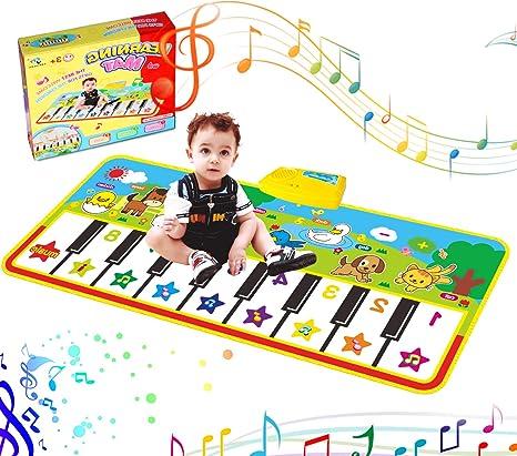 RenFox Tapis de Piano Musical, Tapis de Jeu pour Clavier de Piano Couverture Musicale Educative Electronique Portable Haut-Parleur Intégré et Fonction d'enregistrement pour Filles et Garçons