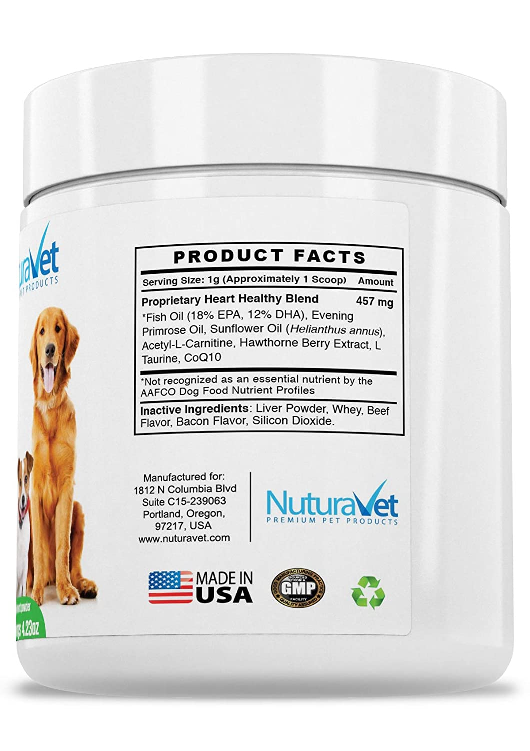 2cade30f5bf3 Amazon.com   NuturaVet Cardocin-CA Omega 3 Complex For Dogs By Dietary  Supplement With Fish Oil   CoQ10- Unique Blend Promotes Heart Health    Heals Skin ...