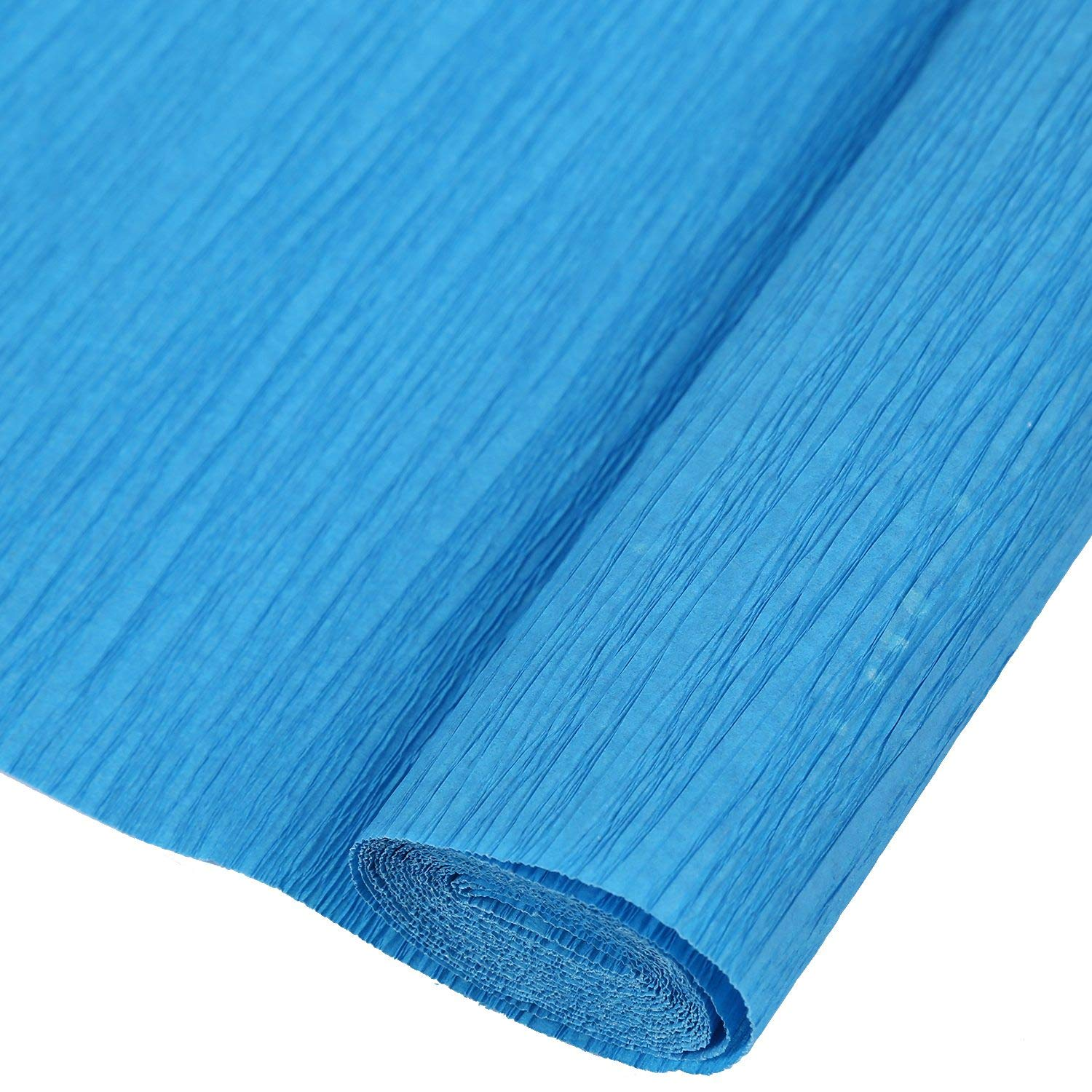 R SODIAL 1 Roll DIY Flower Packing Crepe Papers Handmade Materials Crinkled Paper for Birthday Wedding Party Decoration 25050cmm(blue)
