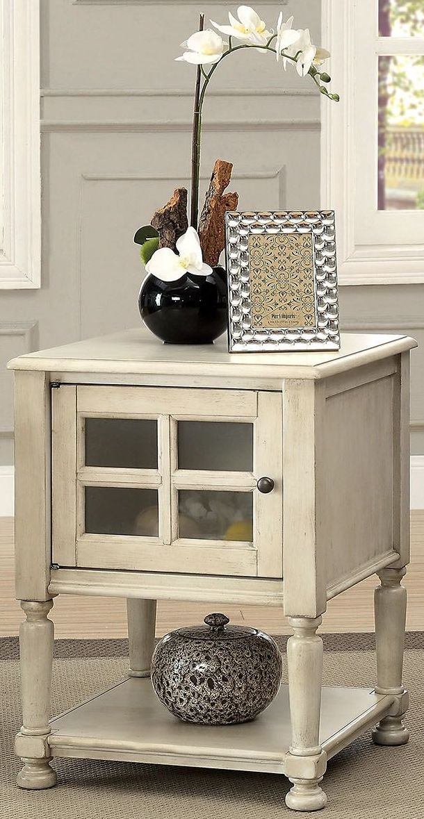 Furniture of America CM-AC163WH Jaida Antique White Side Table End Nesting