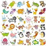Parche lavable de 36 piezas, diseño de animales de la selva con estampado de transferencia de calor, colorido pirografía, pegatinas de planchado para ropa de bebé y niños