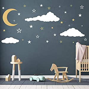 Removable Creative 3D Vinyl White Clouds Moon and Stars Wall Decals DIY Home Wall Art Decor Wall Stickers for Kids Baby Children Boy and Girls Rooms Bedroom Living Room Playroom Decoration (Gold)