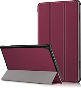 XBE Ultra Slim Case Compatible with Lenovo Tab M10 (TB-X505F TB-X505L TB-X605F TB-X605L) Fold Cover with Stand Function, Redwine