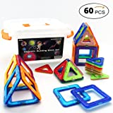Magnetic Blocks and Magnetic Tiles for Building and Creating, Complete kit w/ Container. The PERFECT Educational Toy for Boys and Girls ages 3, 4, 5 and Up. 60 pieces/set