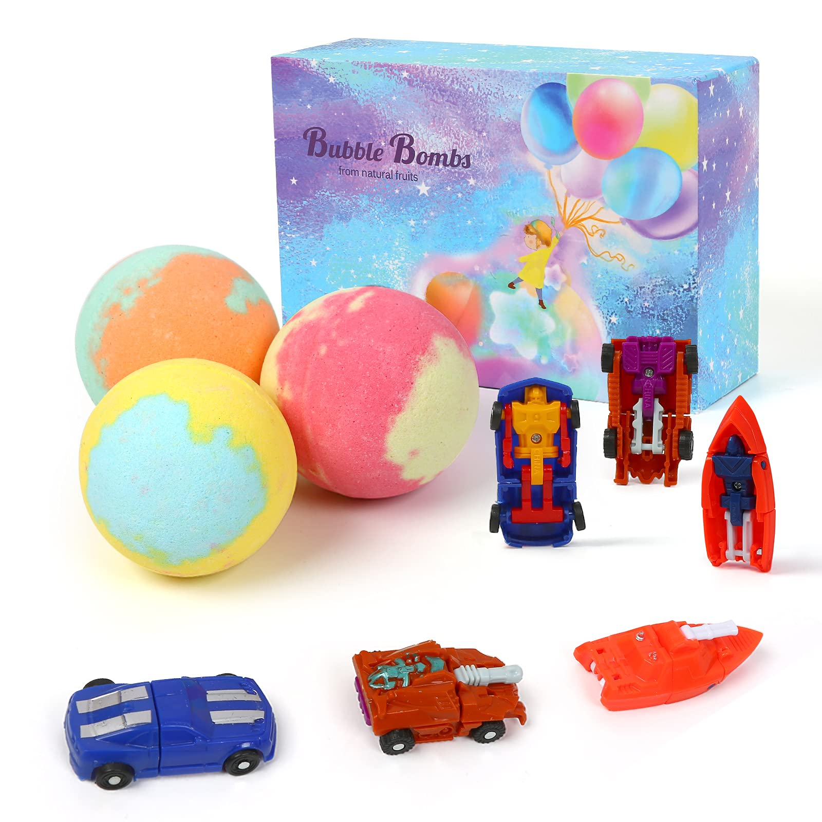 Bath Bombs for Kids Come with Random Deformation Toy car for Girls