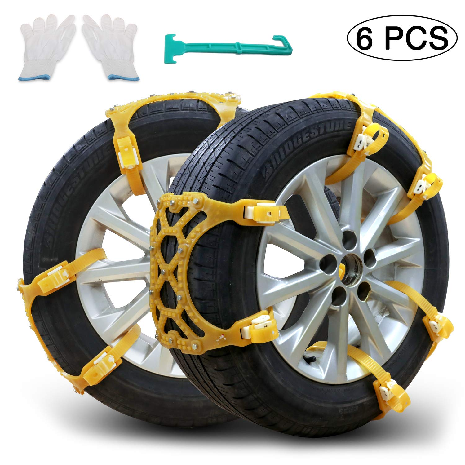 Snow Chains, Anti-skid Tire Chains Car Emergency Chains Powertiger Anti Slip Tire Snow Chain for Car and SUV (Set of 6) 5569