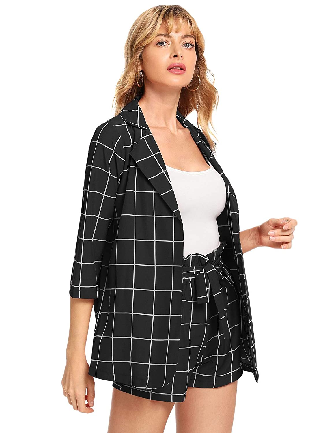 Sheinside Black And White Plaid Notched Blazers With Self Tie Waist Shorts Women Kleidung & Accessoires