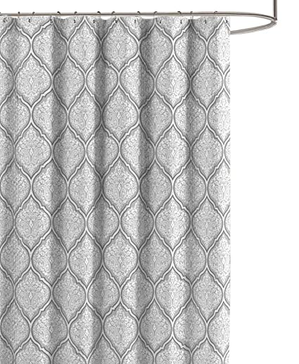 Juno Grey White Fabric Shower Curtain Flower Print In Moroccan Damask Design 70quot