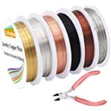 EuTengHao 6 Pack Jewelry Copper Craft Wire Jewelry Beading Wire for Bracelet Necklaces Jewelry Making Supplies (6 Colors…